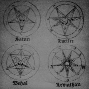 various satanic pentagrams